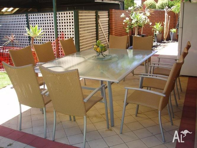 10 seater outdoor setting silver glass table cream for 10 seater table for sale