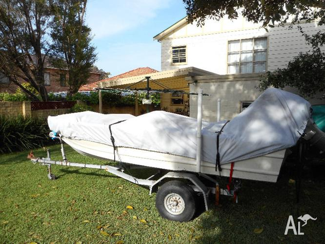 13 ft tinny 4 SALE WITH TRAILER AND BOAT COVER
