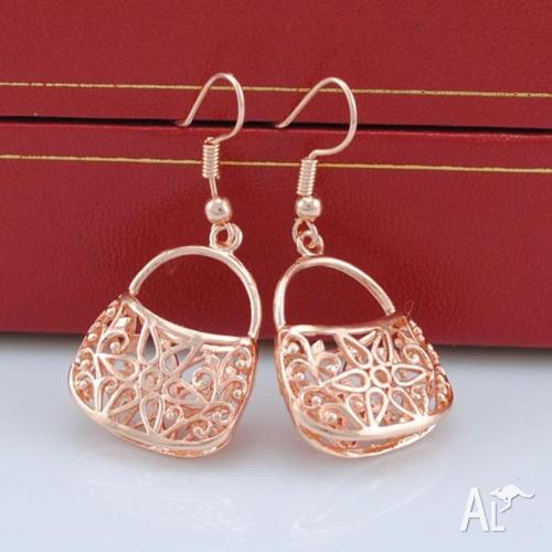 18K ROSE GOLD FILLED TRENDY DANGLE BAG EARRINGS