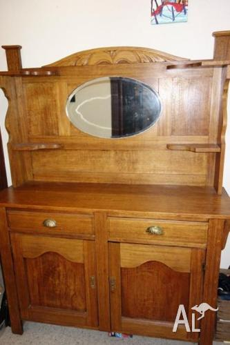 1920s Hallway Dresser Or Sideboard With Back And Mirror