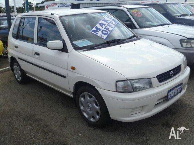 1999 mazda 121 dw1031 metro white 5 speed manual hatchback for sale
