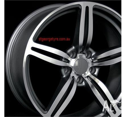 19 INCH BMW WHEELS AND TYRES MACHINE FACE BLACK INSIDE