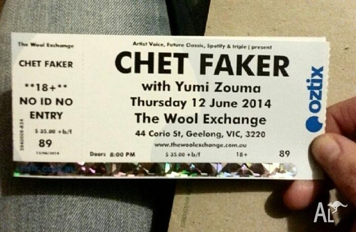 1 ticket to CHET FAKER @ The Wool Exchange
