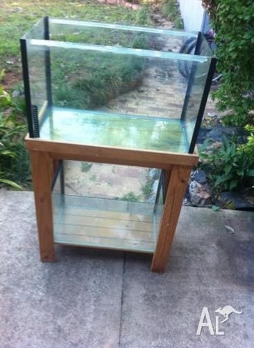 2 fish tanks on one stand