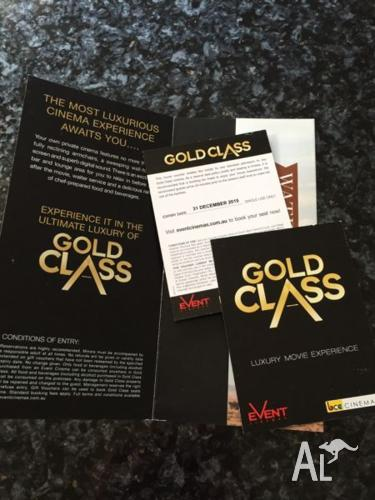 2 GOLD CLASS CINEMA TICKETS FOR EVENT CINEMA VALID