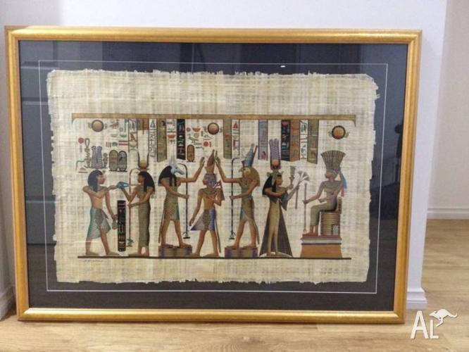 2 x Hand Painted Gold Framed Egyptian Papyrus