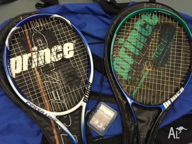 2 X Prince TENNIS Racquets with covers + Sports Bag &