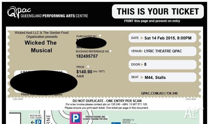 2 x Wicked the Musical tickets, (PREMIUM) BRISBANE