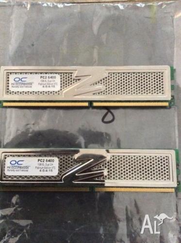 2x1gb OCZ Platinum XTC DDR2 6400 4-5-4-15 Ram memory