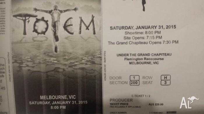 2x Cirque Du Soleil - TOTEM tickets - excellent seats!!
