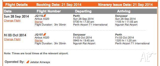 2x Return Perth to Bali. 28/9 - 03/10