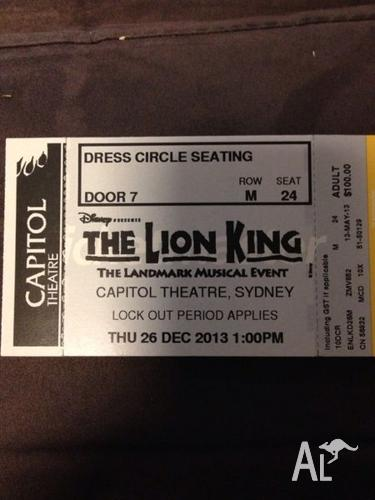 2x Tickets to Disney's The Lion King (Sydney)