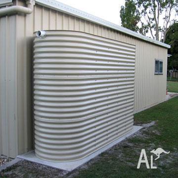 3000 litre paperbark silmline metal water tank