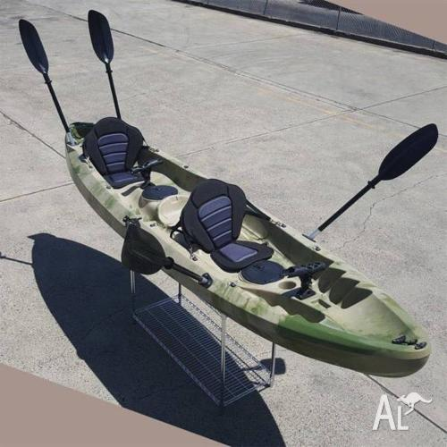 3.7M Family 2.5 Persons Double Kayak Canoe Boat 6 Rod