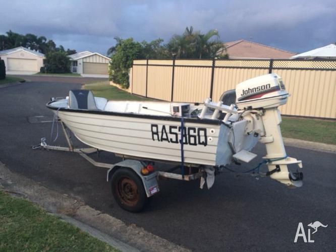 3.8m Seajay aluminium tinny boat, 30HP Johnson and