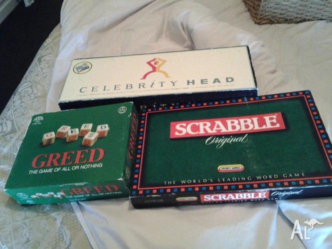 3 board games Greed Scrabble Celebrity Head