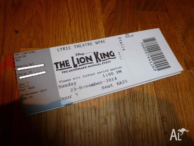 3 Front Row Tickets for the Lion King 23rd Nov 1pm
