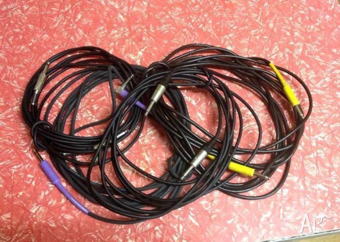 4 GUITAR LEADS CABLES 8m/6m/4.5m