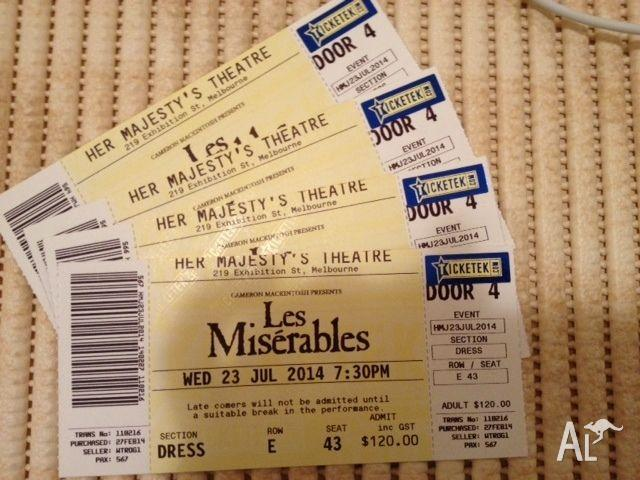 4 x Les Miserables tix 23 July: Great seat location!!