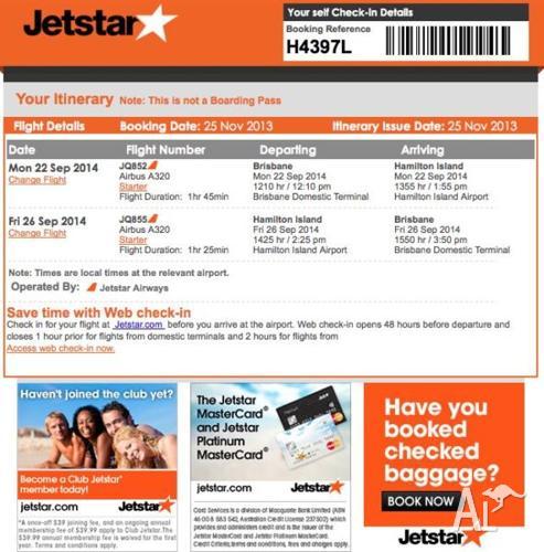 4x return tickets to Hamilton Island with Jetstar