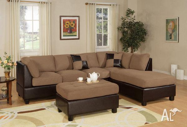 5 Seater Micro Suede Corner Lounge With Free Cushions Ottoman For