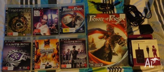 5 SONY PLAYSTATION 3 GAMES + ACCESSORIES