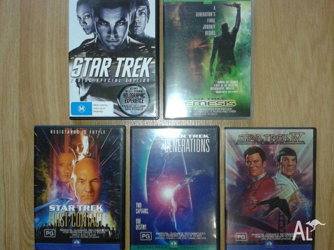 5 STAR TREK DVD movies. - 6 DVD's