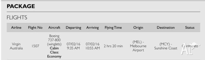 6x Melbourne to Sunshine Coast plane tickets