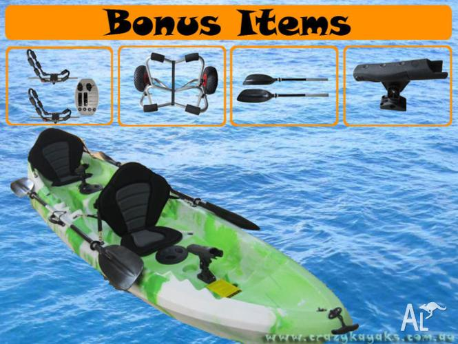 $729 FISHING KAYAK PACKAGE 1 - 2 Or 3 SEATER DELUXE