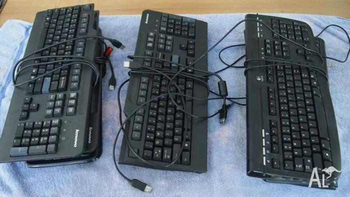 8 Assorted USB Keyboards - Microsoft, Logitech, Lenovo