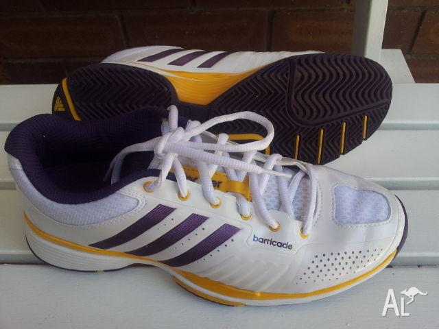 Adidas Barricade Tennis Shoe (Purple/Yellow/White)