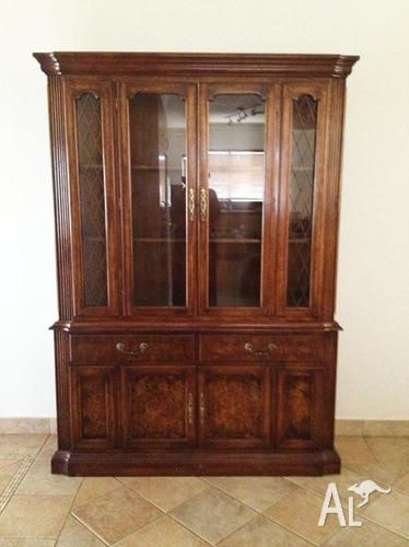 Antique cherry wood display cabinet buffet hutch sideboard