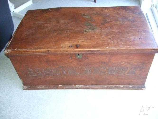 Antique elm carved coffer/chest dated 1857, made in