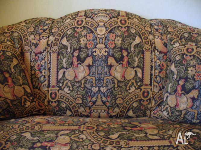 Antique English Tapestry Upholstered Club Lounge & Arm