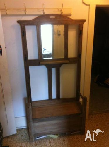 Antique Mirrored Solid Timber Hall Stand