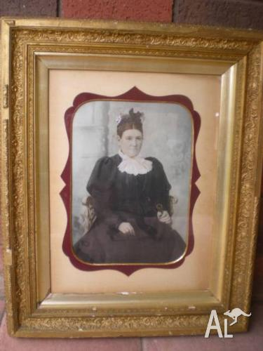 ANTIQUE PHOTOGRAPHIC IMAGE THEN HAND PAINTED PAINTING