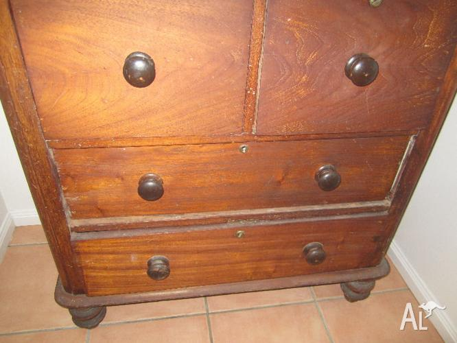Antique red cedar chest of drawers