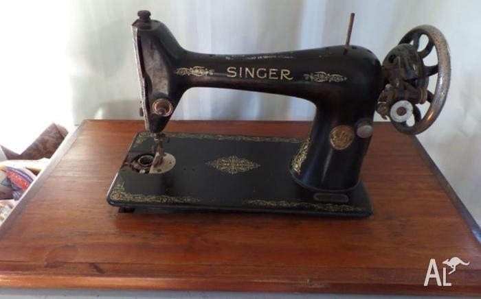 Antique Singer Sewing Machine and Timber Wood Table Top