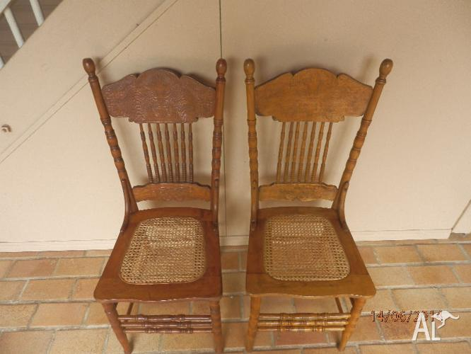 Antique Spindle Back Chairs - Wicker Seats - Antique Spindle Back Chairs - Wicker Seats For Sale In NUNDAH