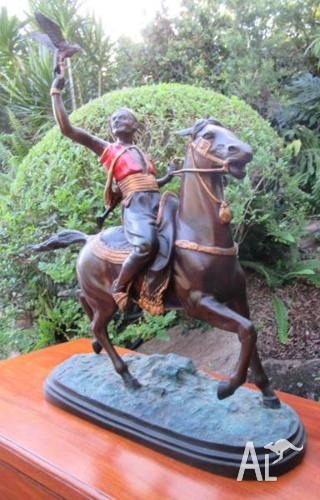 Antique Very Heavy Spelter Figure on Horse