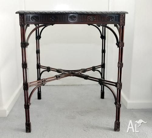 Antique Victorian Chippendale style, mahogany tea table