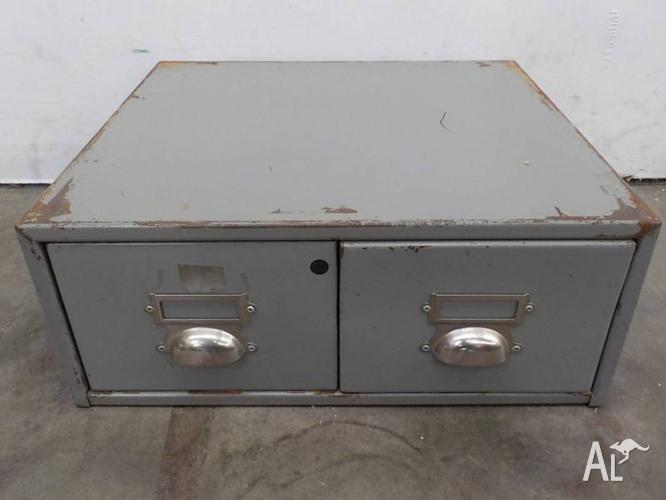 B31049 Small Grey Metal 2 Drawer Card Filing Cabinet