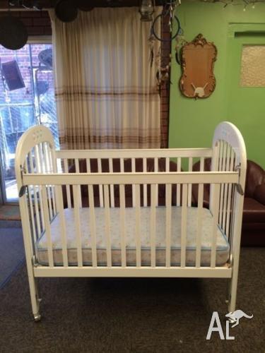 Baby - White Ivory Cot and Mattress