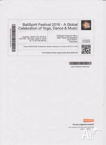 Bali Spirit Festival Full Ticket - Aust $ Not US as on