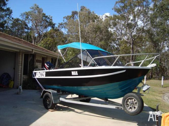 BARGAIN; 4.5 m Al boat, new motor and many extras.