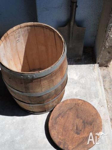 Bbq Pizza Oven Wood Storage Barrel With Lid 50cm H For Sale In