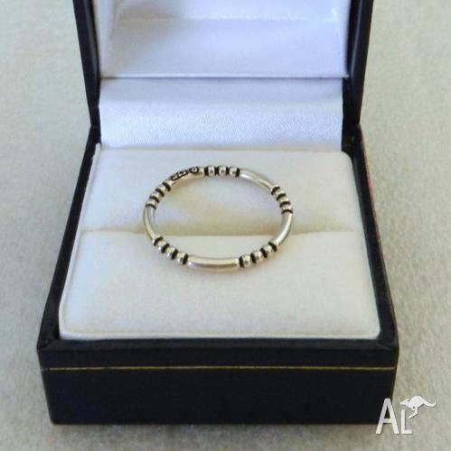 BEAD & BAR STACKER RING SOLID STERLING SILVER 925.