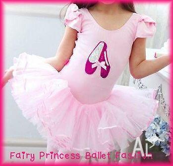 Beautiful Girls Pink Fairy Ballet Leotard / Tutu Dress