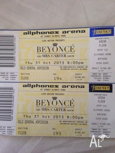 Beyonce Concert Sydney 31st October Gold GA X 2 Tickets