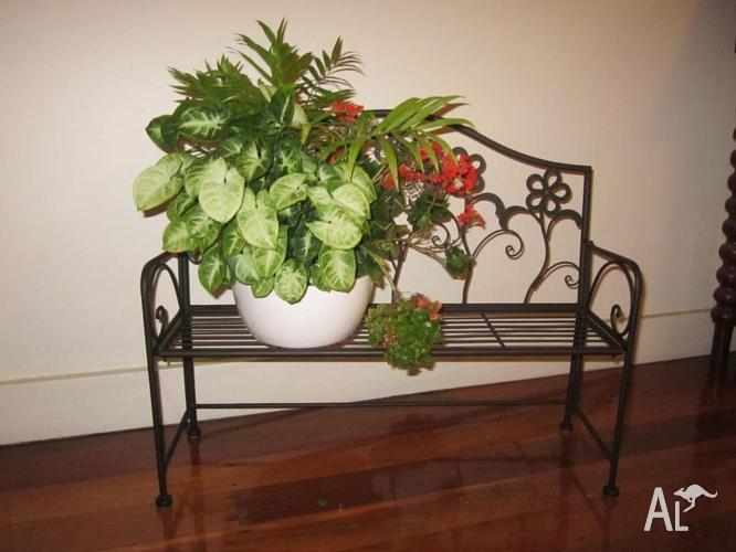 Black Cast Iron Floral Bench Planter Indoor/Outdoor